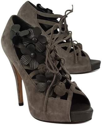Menbur Gray Suede w/ Floral Detail LaceUp Heels $48.99 thestylecure.com
