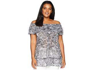 MICHAEL Michael Kors Size Swirl Off Shoulder Gather Top