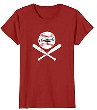 Distressed Cleveland Ohio Baseball Crossbones CLE T-Shirt