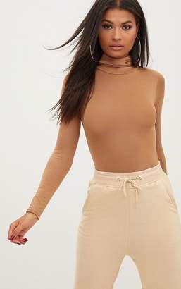 PrettyLittleThing Cream Roll Neck Long Sleeve Bodysuit