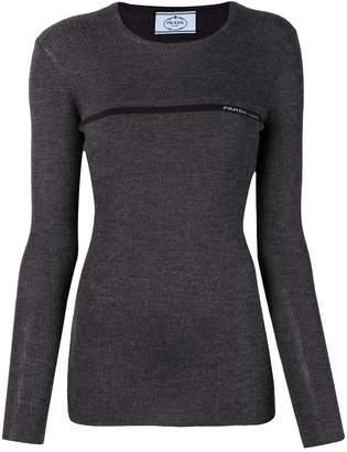 Prada ribbed knit slim fit sweater