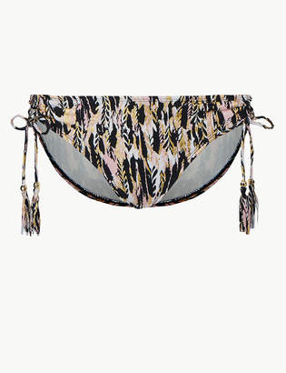 Marks and Spencer Feather Print Tie Side Hipster Bikini Bottoms