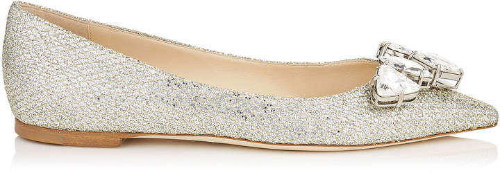 MARVEL FLAT Champagne Glitter Fabric Pointy Toe Flats with Crystal Piece