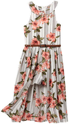 Beautees Belted Floral Striped Walk Thru Romper (Big Girls)
