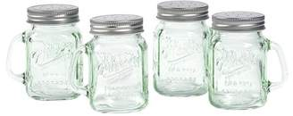 Mason Craft & More Mason Craft and More 4 Ounce Round Glass Salt and Pepper with Handle and Silver Metal Lid, Transparent Green, Set of 4