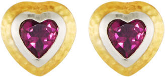 Gurhan Romance Rhodolite Garnet Heart Stud Earrings