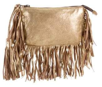 Figue Leather Fringe-trimmed Clutch