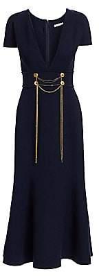 Oscar de la Renta Women's Wool-Blend Draped Chain Trumpet Dress