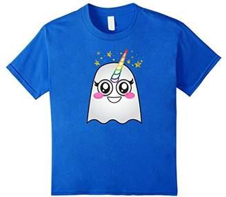 Funny Rainbow Unicorn Halloween Emoji Ghost Horn Kawaii Tee