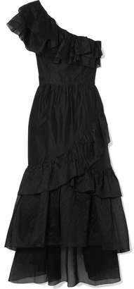 Ulla Johnson Clemente One-shoulder Ruffled Cotton And Silk-blend Organza Midi Dress - Black
