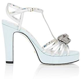 Gucci Women's Embellished Leather & Moire Platform Sandals - Silver