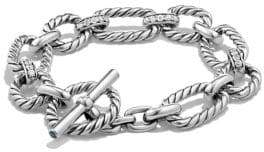 David Yurman Cushion Link Chain Bracelet with Pave Diamonds