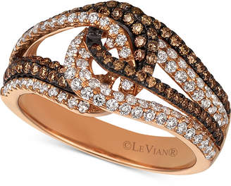 LeVian Le Vian Chocolatier Diamond Looped Ring (1 ct. t.w.) in 14k Rose Gold