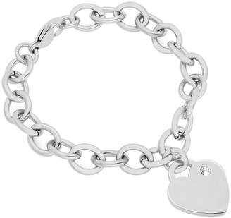 Steel By Design Steel by Design Rolo Bracelet with CrystalHeart