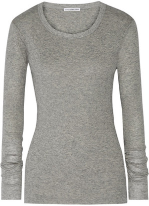 James Perse - Ribbed Cotton And Cashmere-blend Top - Gray $145 thestylecure.com