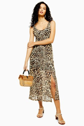 Topshop Animal Print Mesh Tie Dye Midi Dress