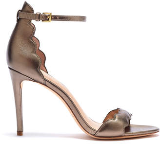 Rachel Zoe Ava Scalloped Metallic Leather Heeled Sandals