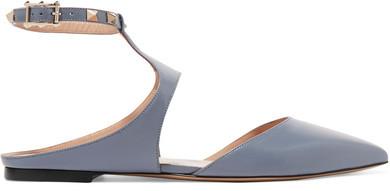 ValentinoValentino - The Rockstud Leather Point-toe Flats - Sky blue