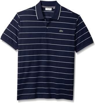 Lacoste Men's Short Sleeve Heritage France Stripe Waffle Slim Polo, PH3199