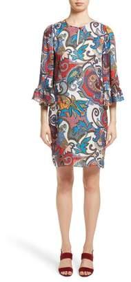 Etro Paisley Print Silk Flutter Sleeve Dress