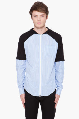 Y-3 Striped Mix Hooded Shirt