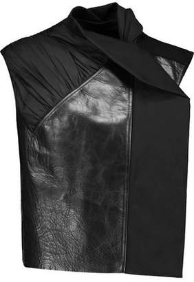 Rick Owens Ruched Shell Crinkled-Leather And Wool-Blend Vest