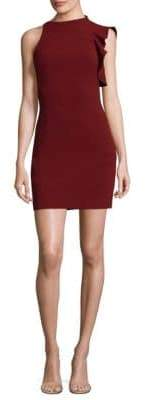 Black Halo Pabla Ruffle-Shoulder Mini Dress