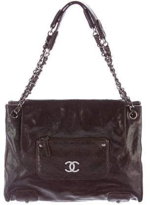 Chanel Glazed Calfskin Accordion Flap Bag