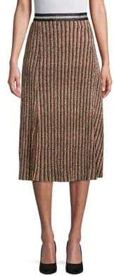 Design Lab Striped Metallic Midi Skirt