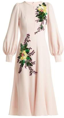 Andrew Gn Sequin Embellished Crepe Midi Dress - Womens - Pink Multi