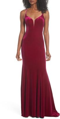 La Femme Crisscross Back Velvet Gown