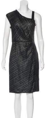 J. Mendel Leather-Accented Fringe Dress