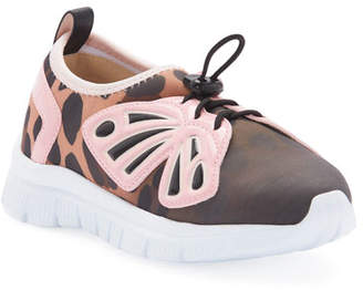 Sophia Webster Fly-By Gradient Scuba Mesh Butterfly-Wing Sneakers, Baby/Toddler/Kids