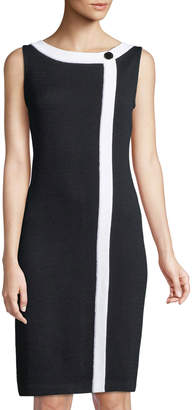 St. John Sleeveless Wrap-Front Santana Knit Sheath Dress