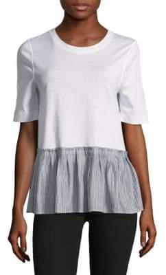 BCBGeneration Contrast Ruffle-Hem T-Shirt