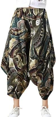 Shaoyao Womens Bohemian Elastic Waist Wide Leg Pants Plus Size Capris Palazzo Trousers Hippy Boho Style 3