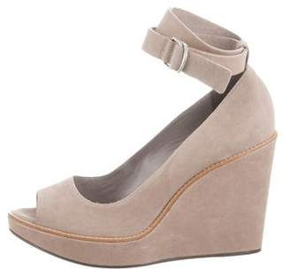 Brunello Cucinelli Leather Peep-Toe Wedges w/ Tags