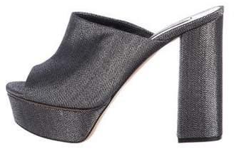 Casadei Metallic Platform Slide Sandals