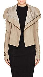 Rick Owens Women's Embellished Blistered Leather Biker Jacket-Pearl Silver