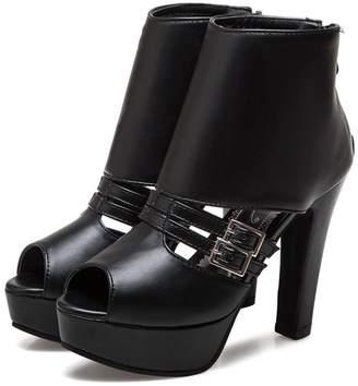 100FIXEO Women Sexy Peep Toe Platform Comfy Chunky High Heels Strap Back Zipper Sandals Shoes Size 7 (B) M US