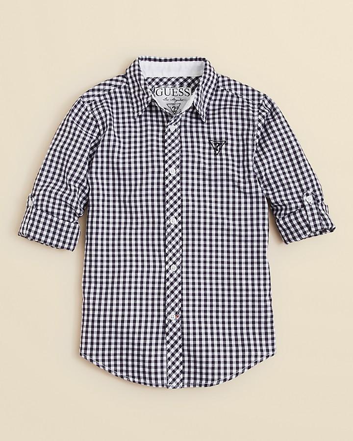 GUESS Boys' Gingham Woven Shirt - Sizes S-XL