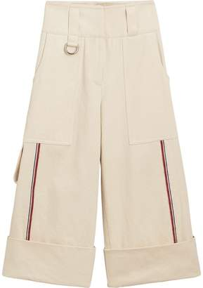 Burberry Stripe Detail Cotton Cropped Wide-leg Trousers