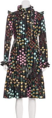 Valentino Ruffle-Trimmed Floral Midi Dress w/ Tags