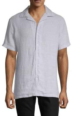 Saks Fifth Avenue BLACK Vacation Linen Button-Down Shirt