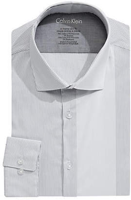 Calvin Klein Extra Slim-Fit Stretch Striped Dress Shirt