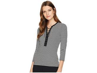 Lauren Ralph Lauren Lace-Up Striped Cotton Top