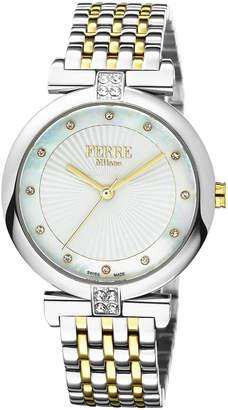 Ferré Milano Women's 36mm Stainless Steel Sunray Glitz Watch with Bracelet, Steel/Golden