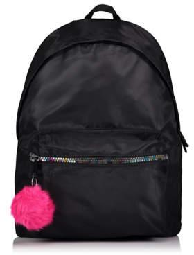George Black Pom-Pom Colourful Zip Rucksack