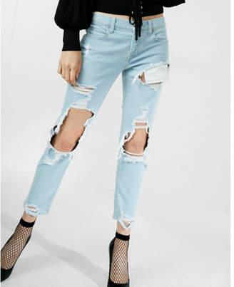 Express mid rise destroyed original cropped girlfriend jeans