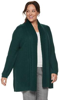 Croft & Barrow Plus Size Ring Stitch Open Front Cardigan